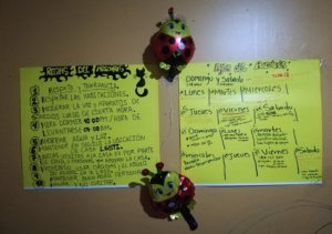A calendar of activities for residents at one of the Hijos de Arcoirís homes in Costa Rica. Photo by Jess Marquez Gaspar.