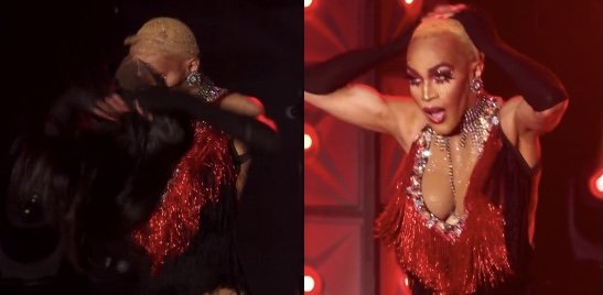 Trinity losing her wig.