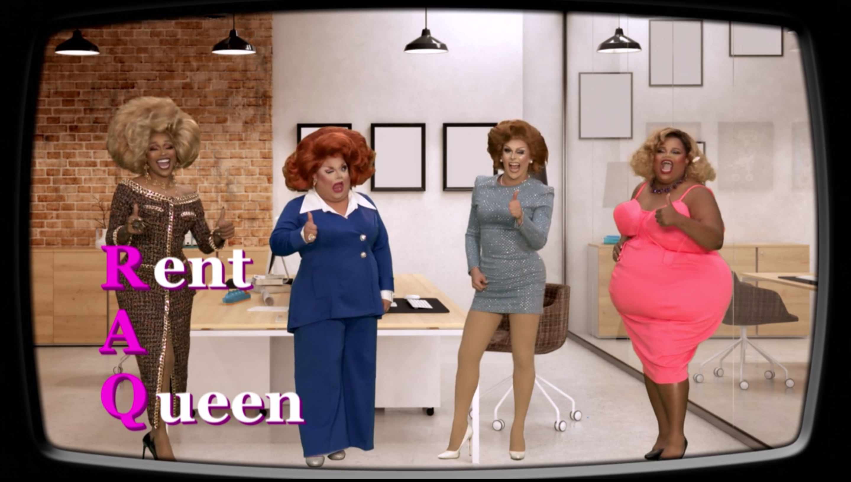 A'keria, Ginger, Jan and Silky advertise their Rent-a-Queen service.
