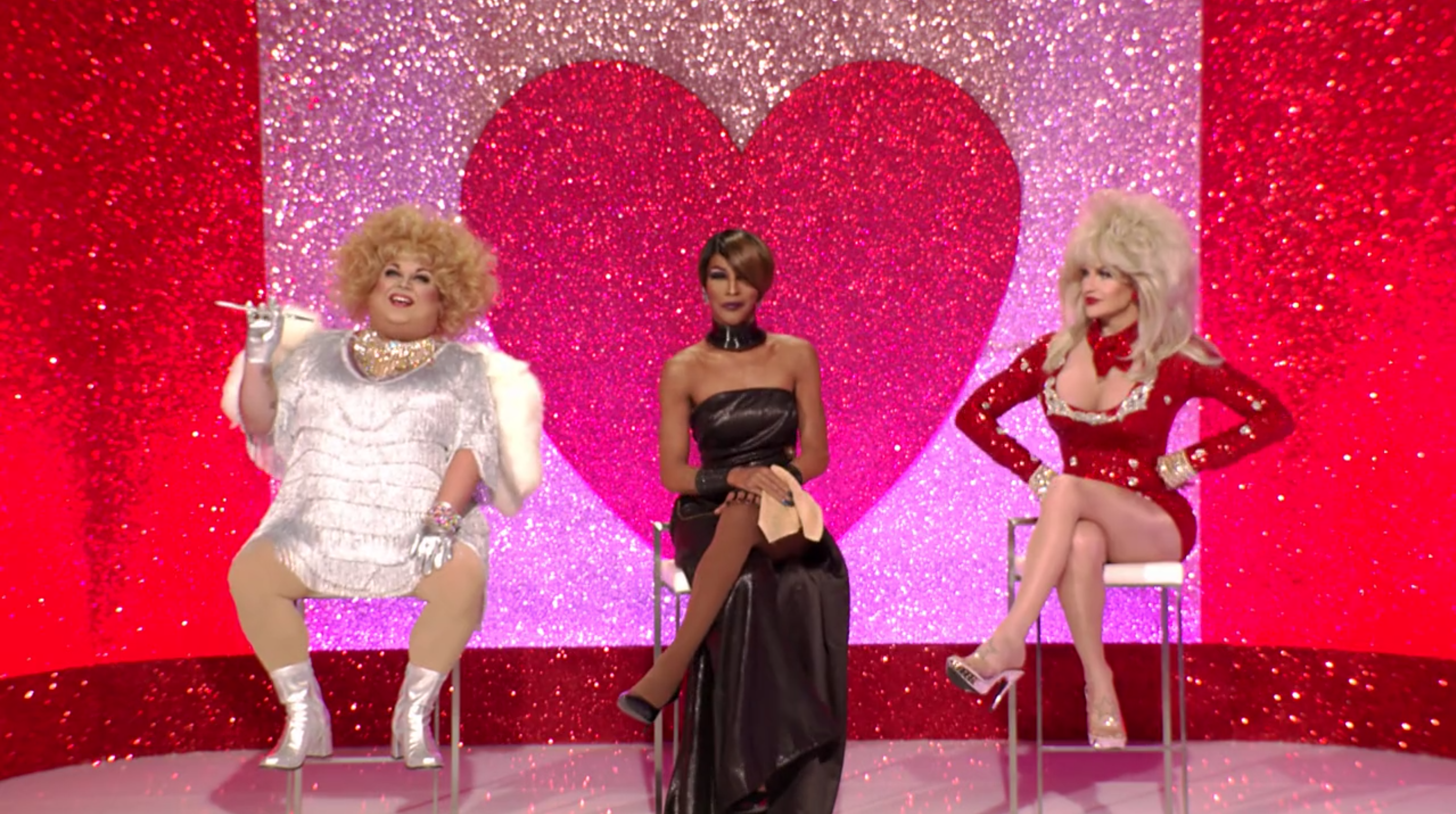 Ginger, Trinity and Kylie in the Snatch Game of Love.