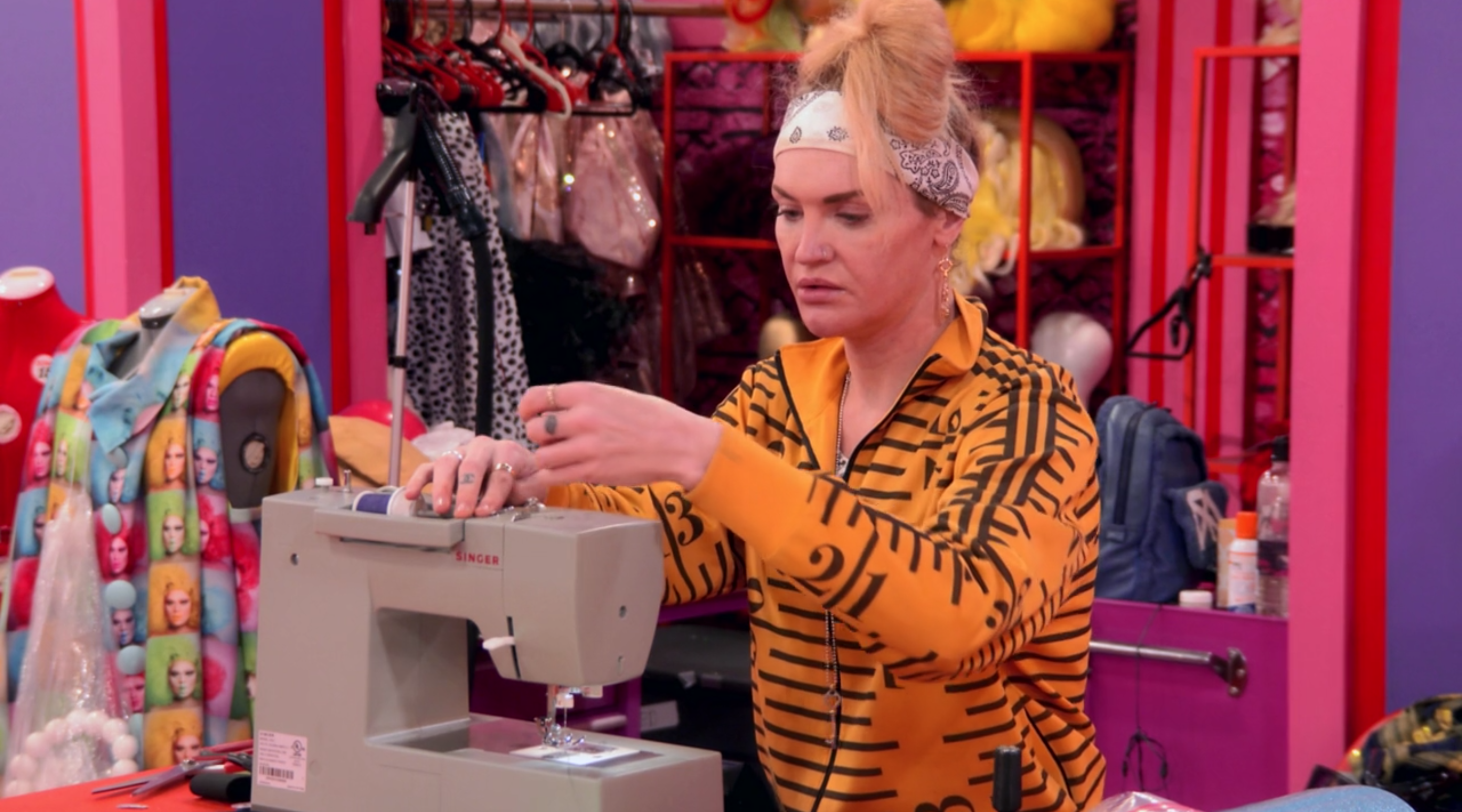 Kylie at her sewing machine.