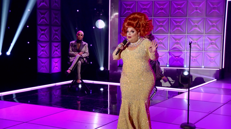 Ginger delivering her monologue.