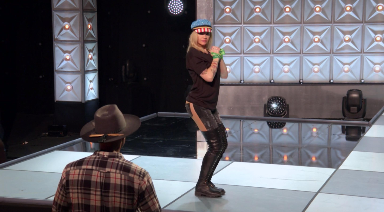 Kylie in rehearsal.